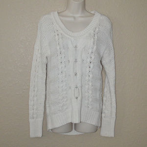 Sz XS Duffy Off White Cable Knit Sweater